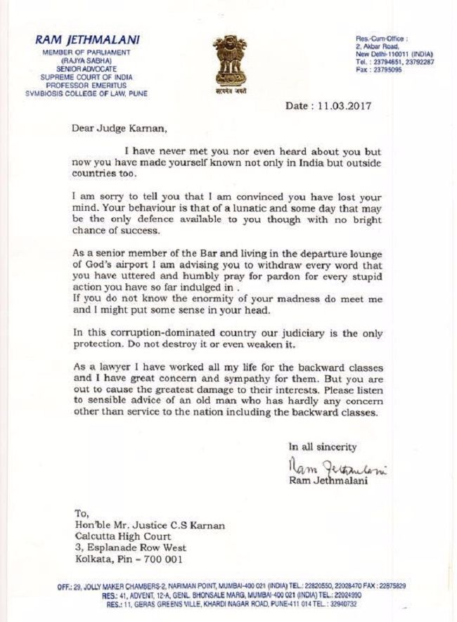 earlier the supreme court bench had issued contempt notice to justice karnan for writing letters casting aspersions on several judges
