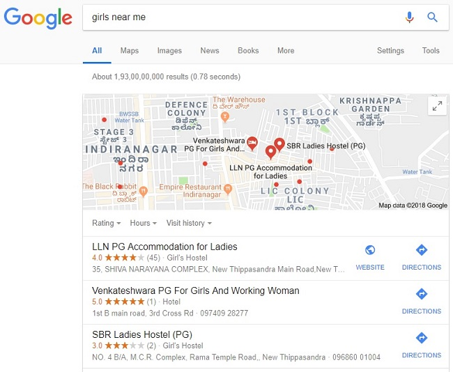Girls' schools, women's PGs: The shocking results when you Google 'bitches near  me' | The News Minute