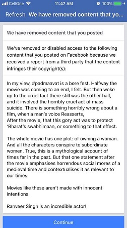 Facebook removes Bengaluru man's critical post on 'Padmaavat' for