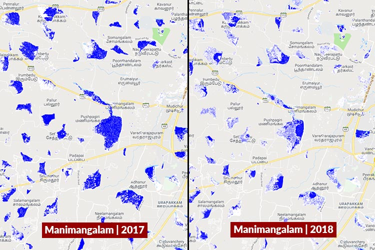 Satellite images of dry lakes show how bad Chennai's water crisis
