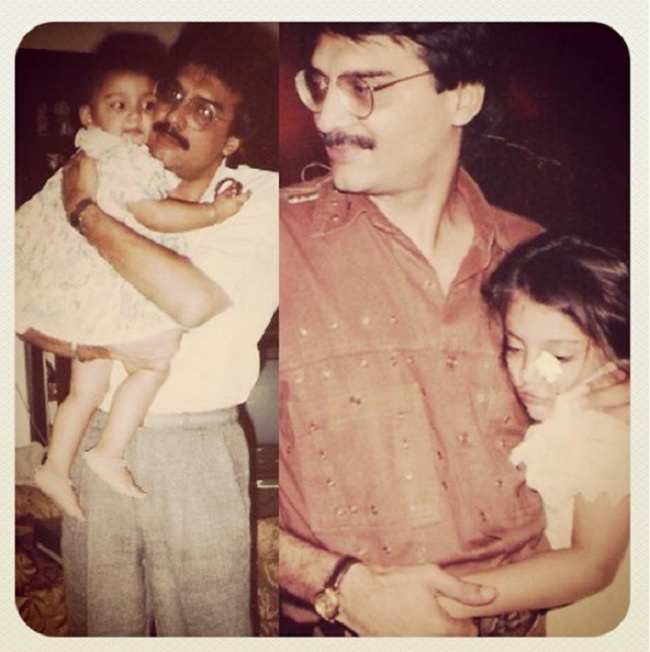 Miheeka with her father Suresh when she was a kid