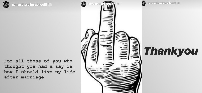 Samantha shows middle finger to trolls who want her to