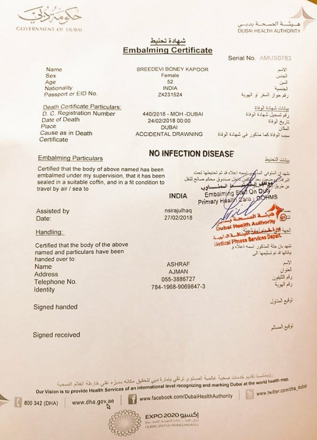 Sridevi case closed dubai public prosecutors office says the pages of the death certificate accessed by media do not mention it gulf news reported that traces of alcohol were found in sridevis blood samples yadclub Gallery