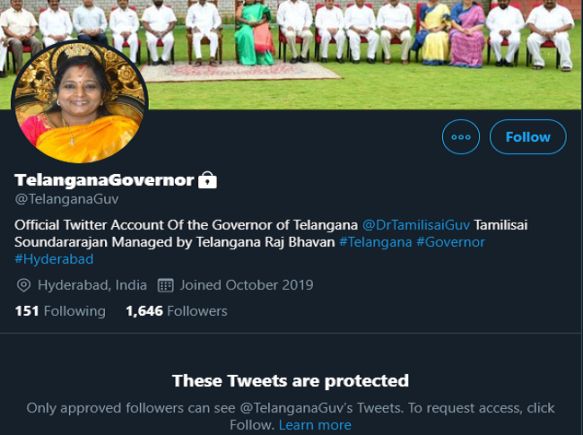 Telangana Governor Twitter account goes private