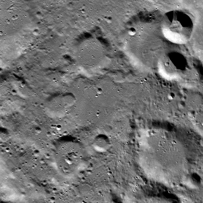 A view looking down on the Vikram landing site, image width 87 kilometers