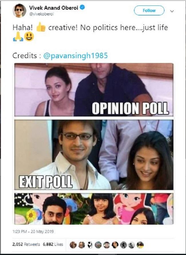 Image result for vivek oberoi meme on exit poll