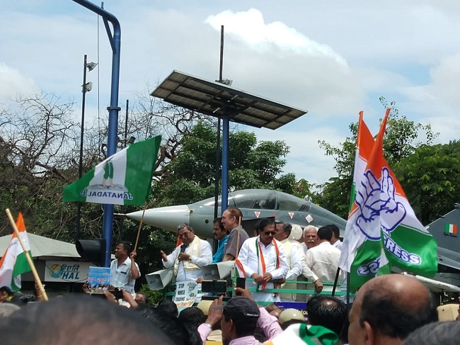 Bengaluru on political crisis with multiple protests by BJP & Congress