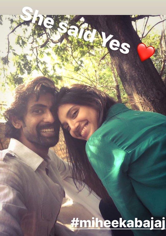 Rana Daggubati announcing his engagement to Miheeka Bajaj on Instagram stories