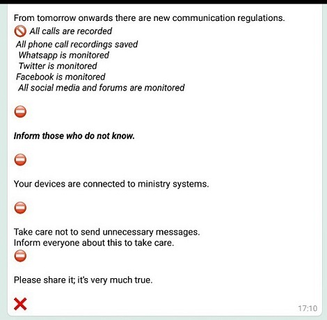 WhatsApp hoax: There isn't a Ministry of Interior Regulation