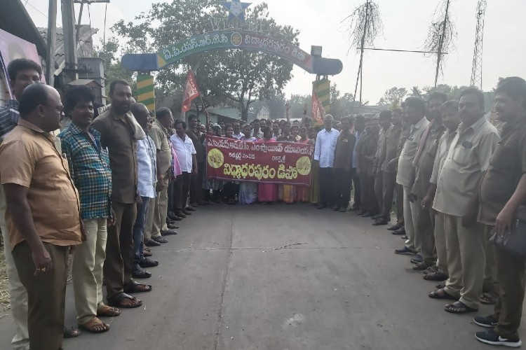 Less than a month after govt merger, APSRTC employees hold two-day protest