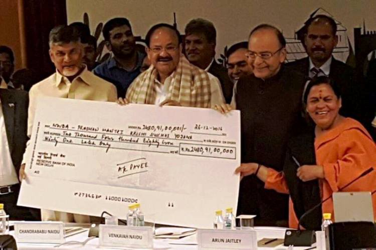 Jaitley hands over cheque for Polavaram project