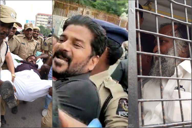 Several Congress leaders marching to KCR's residence in Hyderabad detained by cops
