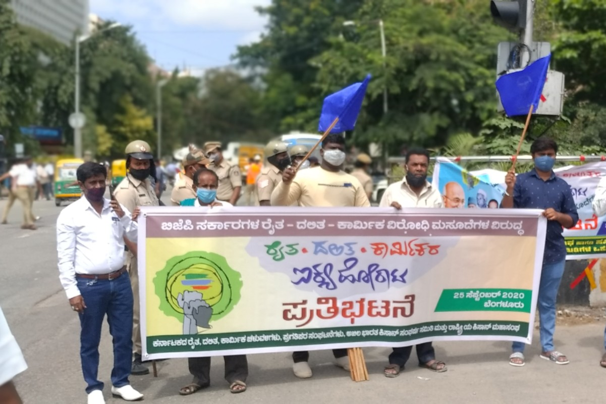 Farmer, Dalit groups protest in Bengaluru ahead of Karnataka bandh on Monday