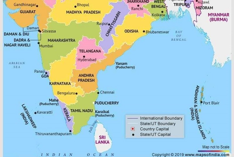current political map of india with states and capitals and union territories Andhra Capital Amaravati Missing In Centre S Latest India Map current political map of india with states and capitals and union territories