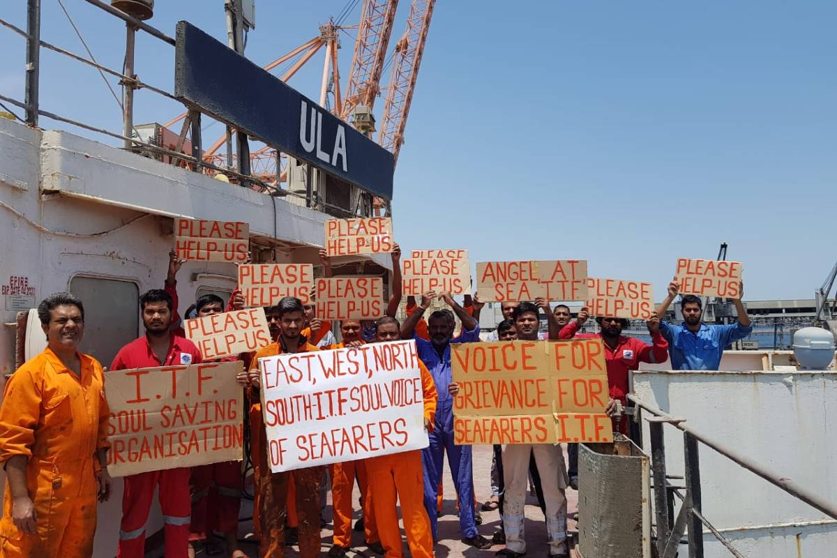 Stuck on a ship in Kuwait Indian sailors go on fast demanding pending salaries