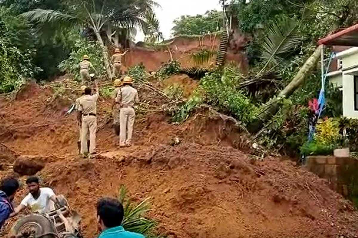 2 children dead after being trapped in a landslide in Mangaluru
