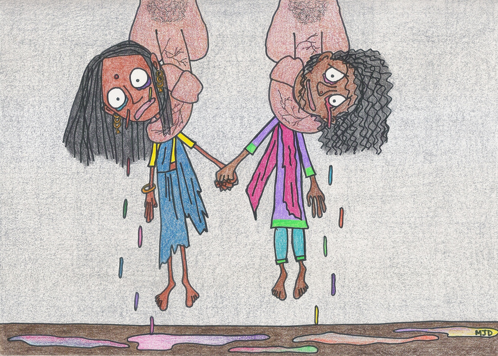 A child like drawing of a gay female pair of