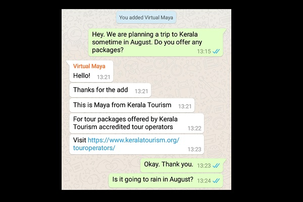 Now plan your Kerala vacation on WhatsApp, with virtual Maya's help