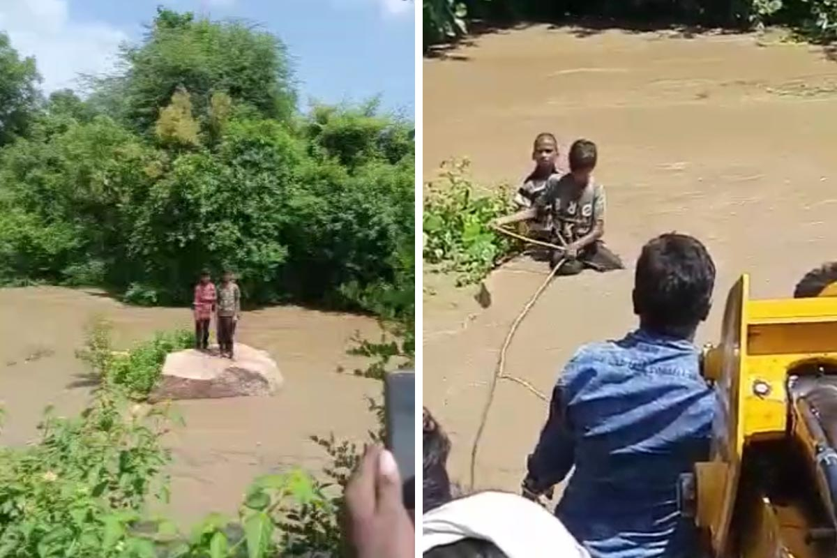 Video Three boys on the verge of being washed away rescued in Telangana