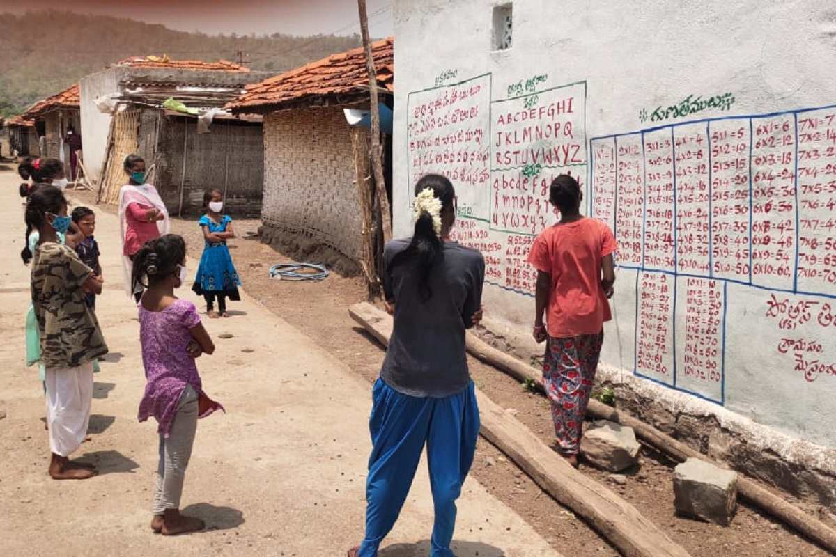 Telangana police paint alphabets tables on walls to help tribal kids learn