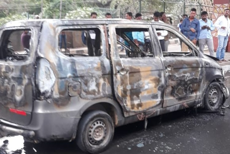 Narrow escape for 6 persons after car catches fire on Bengaluru's Outer Ring Road