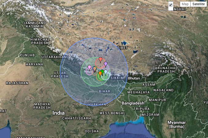 One map tracing the location, magnitude of Nepal earthquake and ...