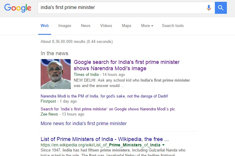 Wikipedia Wars: How Modi's image popped-up on Google-search