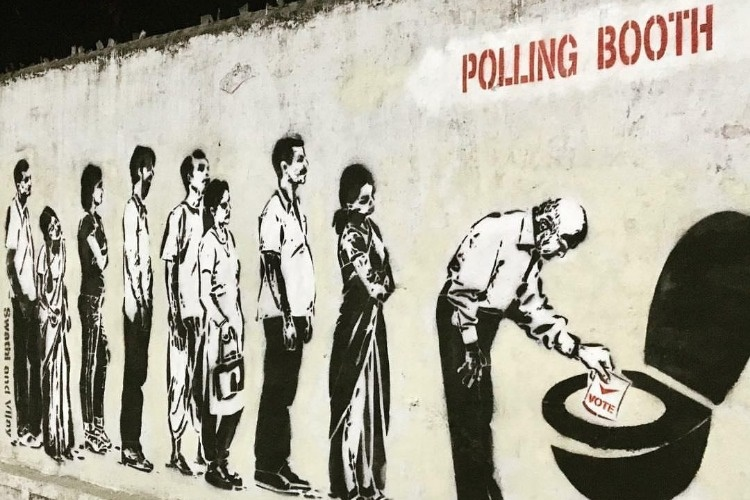 Telangana couple known for painting govt schools slams corrupt politicians in graffiti