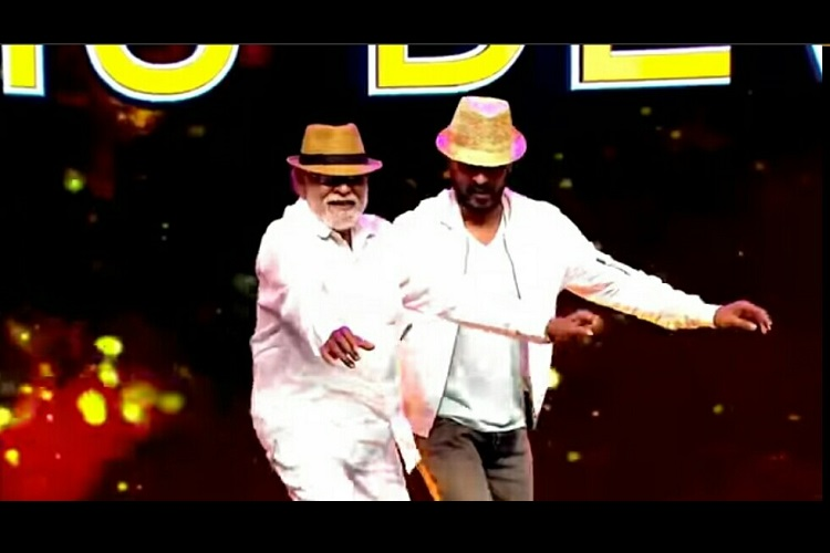 prabhu deva and his father swing a leg together on reality