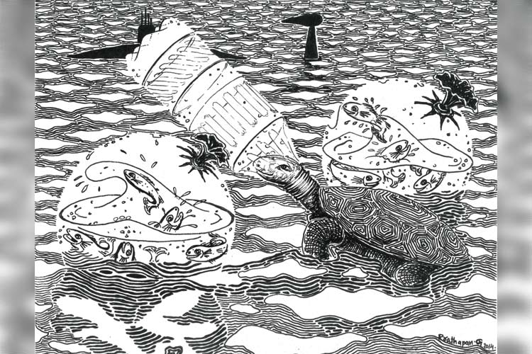 This Kerala artist's stark black-and-white drawings highlight pollution in our seas