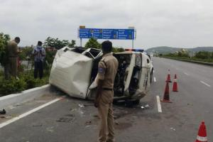 One dead three injured as vehicle in Andhra Mins convoy meets with accident