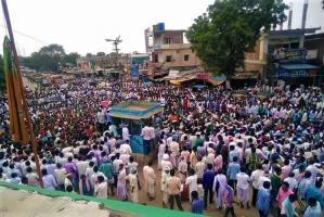 Telangana formation day Adivasis hoist black flags protest reservation to Lambadas