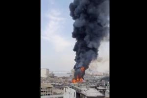 Major fire at Beirut port a month after massive explosion that killed 190