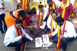 Belagavi border row Pro-Kannada groups burn effigy of Maha CM Uddhav Thackeray