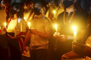Andhra police hold candlelight vigil for CRPF personnel killed in Maoist attack