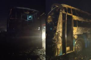 Five dead as Bengaluru-bound bus catches fire in in Karnatakas Chitradurga