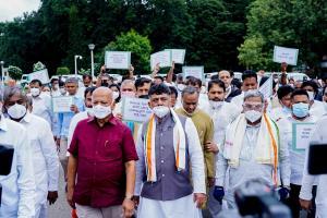 Karnataka Congress leaders protest call for judicial inquiry into Pegasus snoopgate