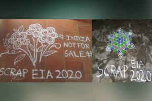 In pics Kolams drawn in Tamil Nadu to expresses dissent against EIA 2020 draft