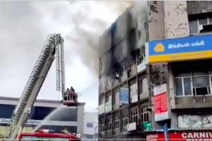 Watch Fire breaks out at shopping complex in Chennais Anna Salai