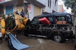 In videos Vehicles washed away homes flooded as heavy rain hits Hyderabad again