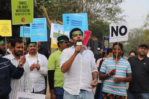 Makes no sense to cut trees and build flyovers Citizens in Hyd protest at KBR park