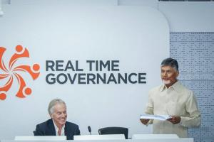 Former Britain PM Tony Blair visits Amaravati praises Naidus Real Time Governance