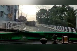 Viral video shows overspeeding SUV overturning on flyover in Kanyakumari