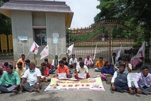 Denied hall tickets Karnataka SSLC students write mock exam on the road