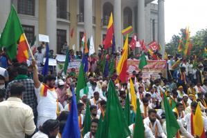 Karnataka bandh Protests across state partial shutdown in Bengaluru