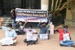 Food delivery executives protest in Bengaluru demand compensation for loss of work
