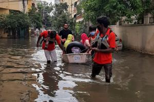 Yacht club members rescue many residents stranded in flood-affected areas of Hyderabad