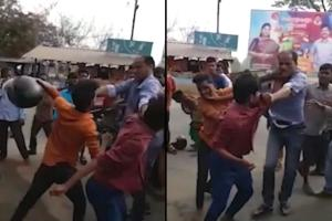 Video Andhra cop attacked for cautioning youth against rash driving two held