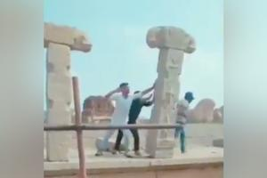 4 men seen in video pushing down pillar at Hampi heritage structure arrested