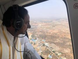 Telangana CM KCR conducts aerial inspection of Yadadri temple renovation